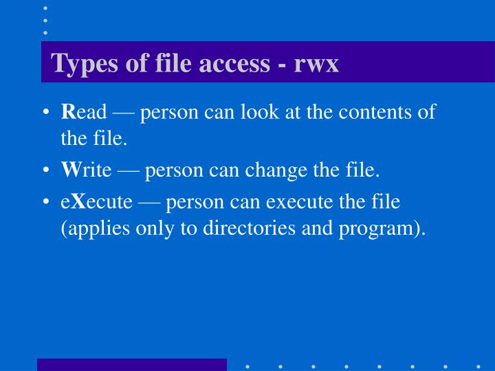 Types of file access - rwx