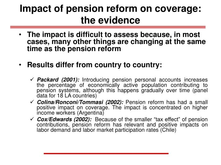 Impact of pension reform on coverage: the evidence