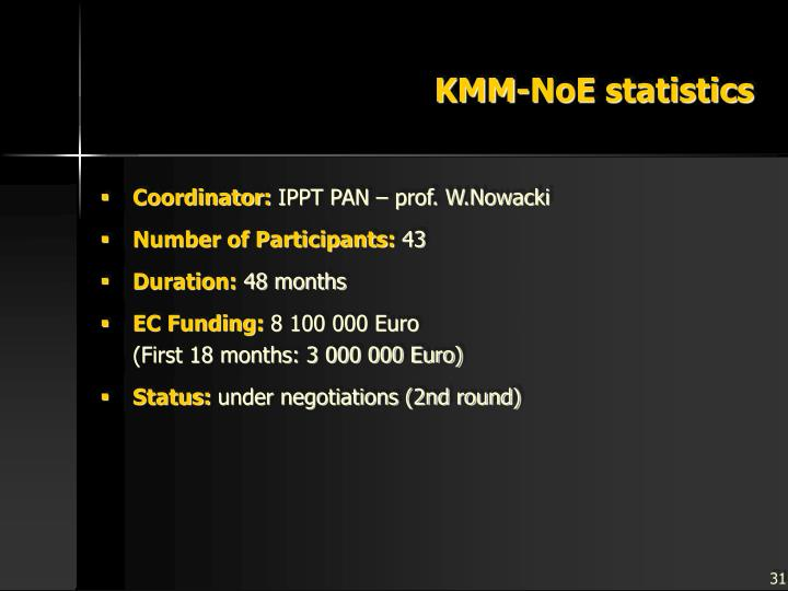 KMM-NoE statistics