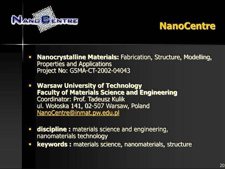 NanoCentre