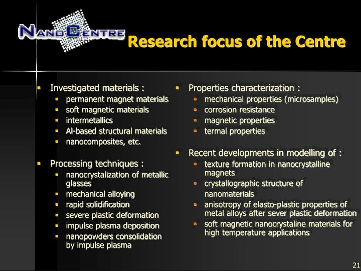 Research focus of the Centre