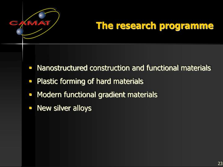 The research programme