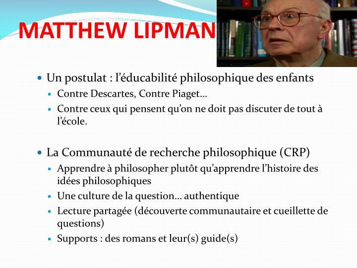 MATTHEW LIPMAN
