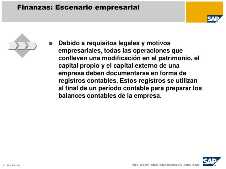 Finanzas: Escenario empresarial