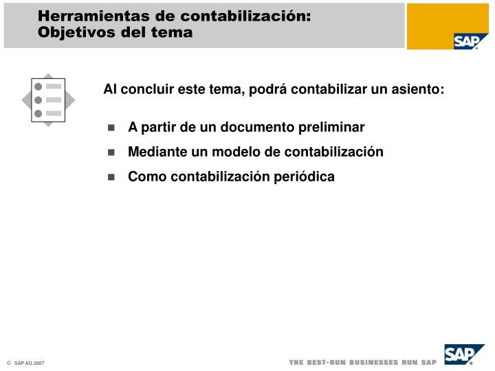 Herramientas de contabilización: