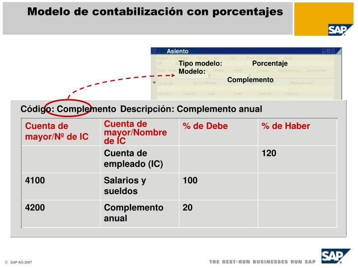 Modelo de contabilización con porcentajes