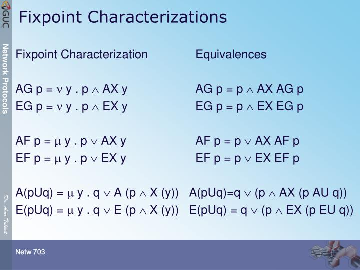 Fixpoint Characterization		Equivalences