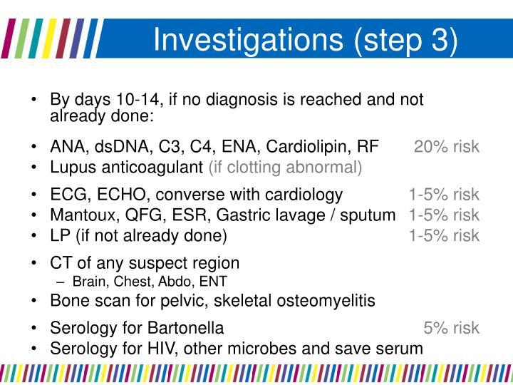 Investigations (step 3)