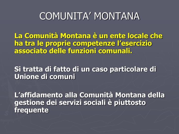 COMUNITA' MONTANA