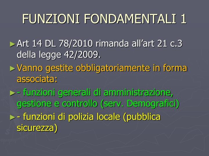 FUNZIONI FONDAMENTALI 1