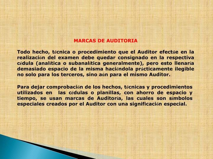 MARCAS DE AUDITORIA