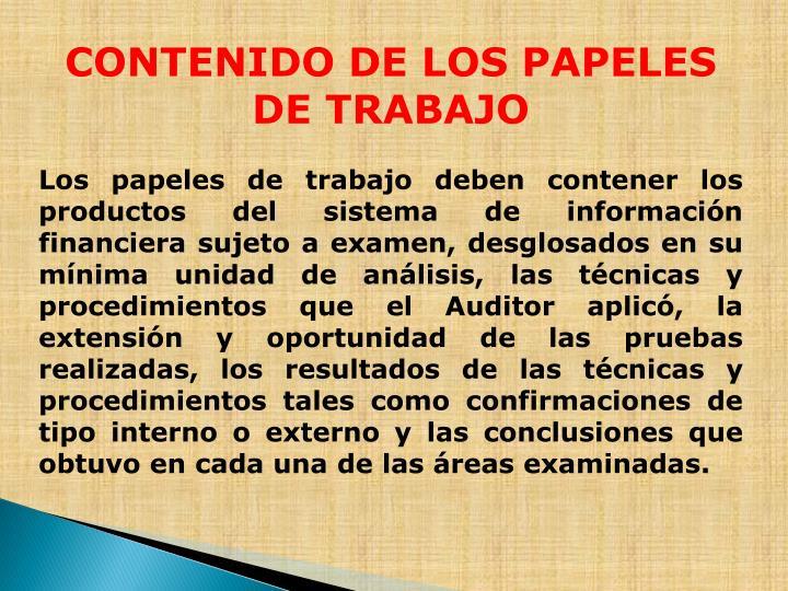 CONTENIDO DE LOS PAPELES DE TRABAJO