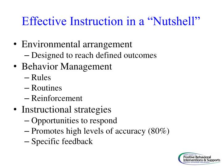 "Effective Instruction in a ""Nutshell"""
