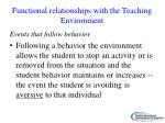 functional relationships with the teaching environment1