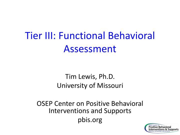 tier iii functional behavioral assessment