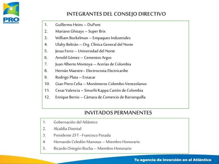 INTEGRANTES DEL CONSEJO DIRECTIVO