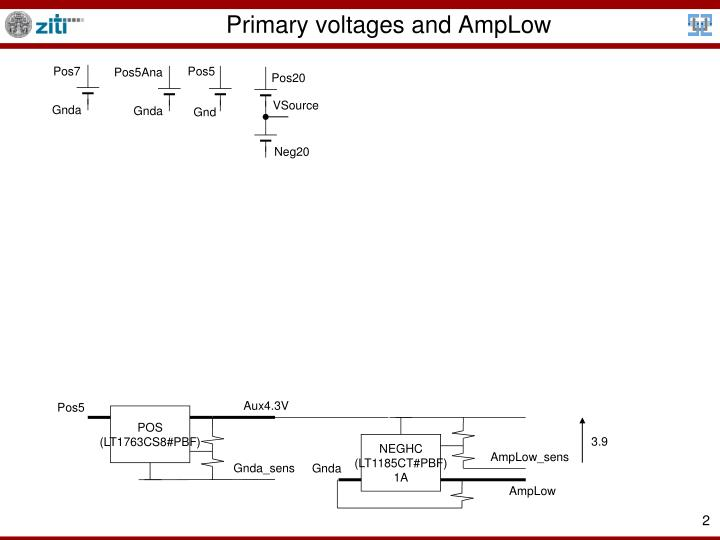 Primary voltages and AmpLow