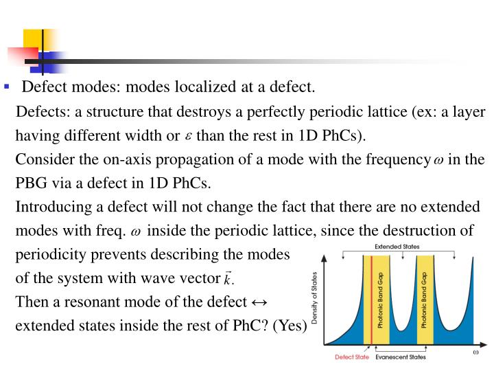 Defect modes: modes localized at a defect.