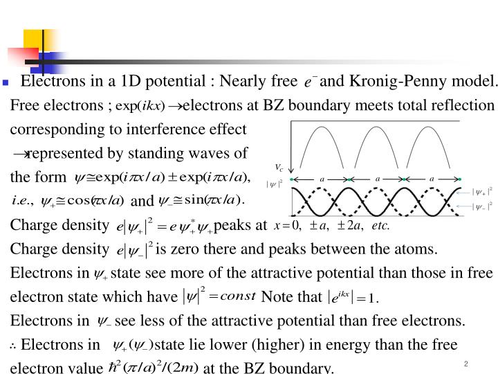 Electrons in a 1D potential : Nearly free     and Kronig-Penny model.