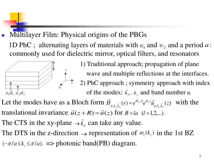 Multilayer Film: Physical origins of the PBGs