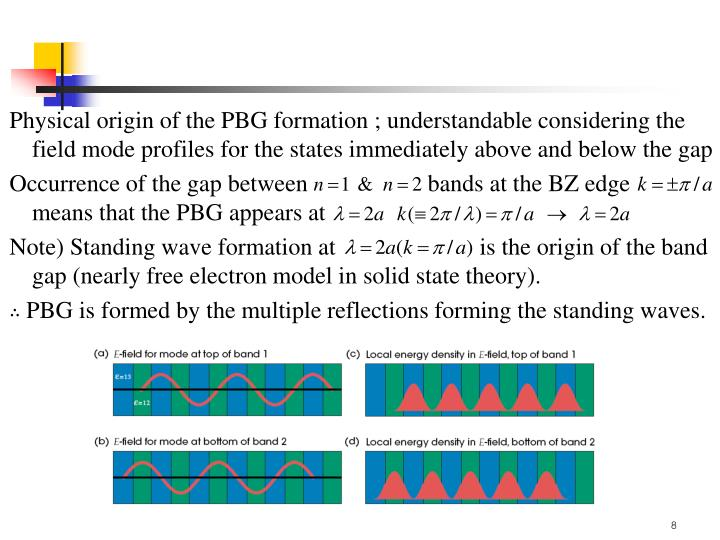 Physical origin of the PBG formation ; understandable considering the    field mode profiles for the states immediately above and below the gap