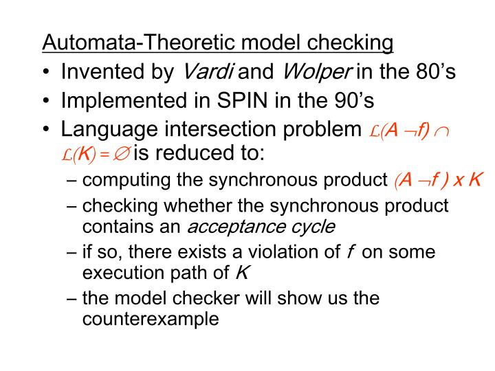 Automata-Theoretic model checking