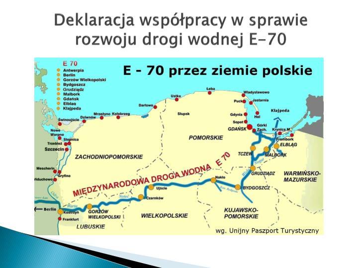 Deklaracja współpracy w sprawie rozwoju drogi wodnej E-70