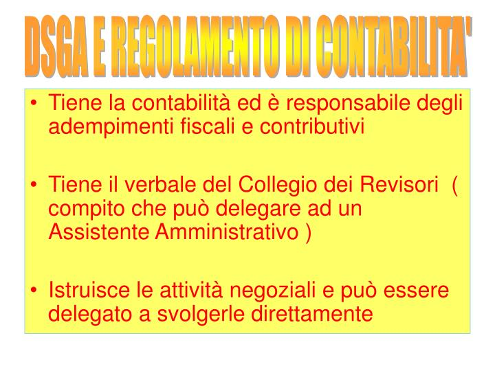 DSGA E REGOLAMENTO DI CONTABILITA'