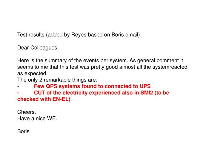 Test results (added by Reyes based on Boris email):