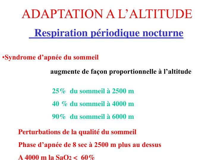 ADAPTATION A L'ALTITUDE