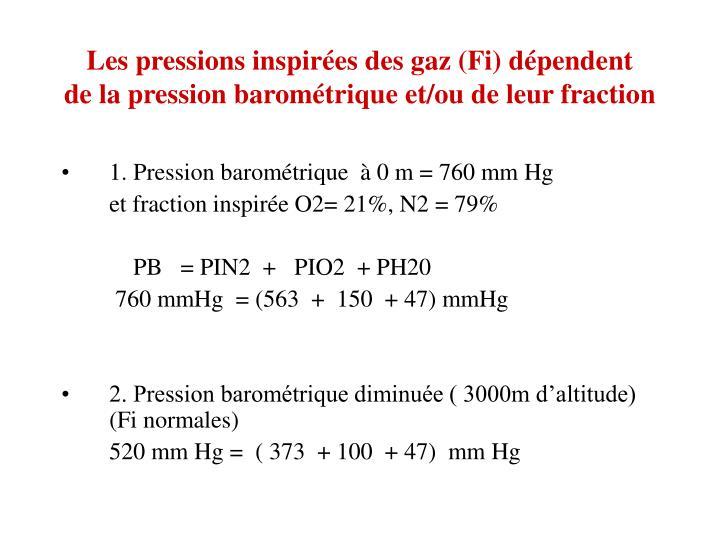 Les pressions inspirées des gaz (Fi) dépendent