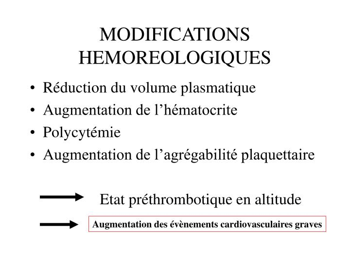 MODIFICATIONS HEMOREOLOGIQUES