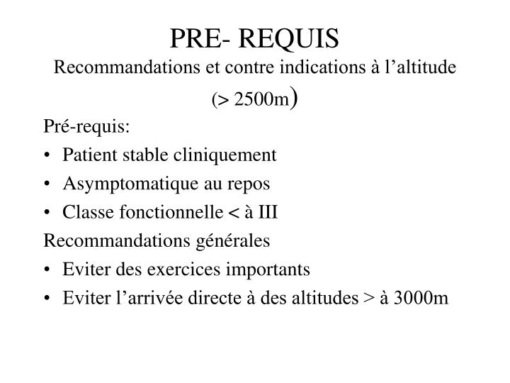 PRE- REQUIS