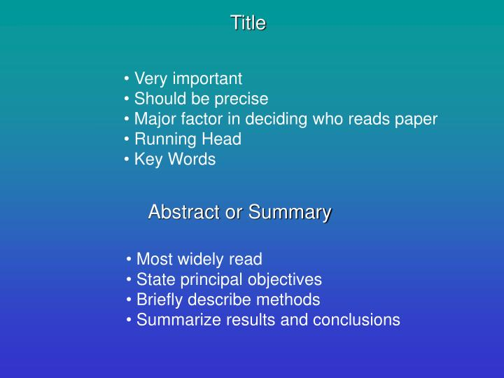 Abstract or Summary