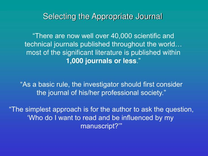 Selecting the Appropriate Journal