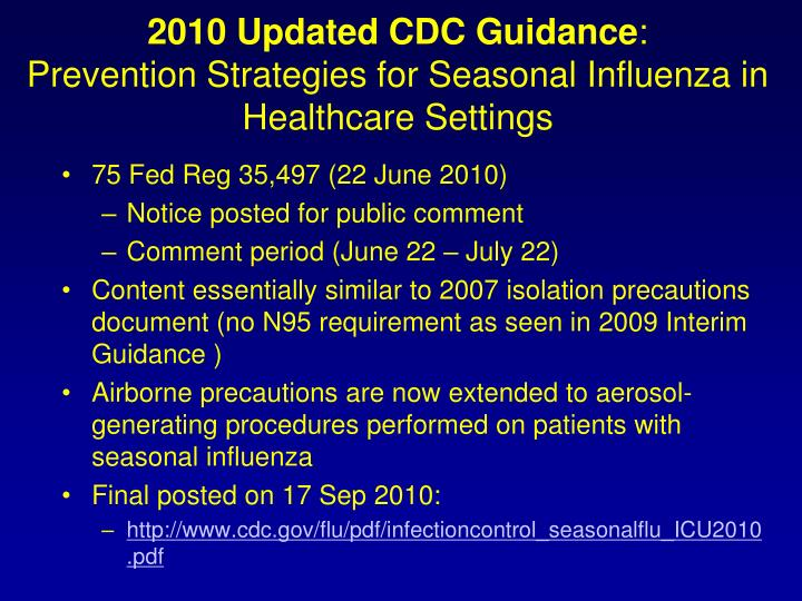 2010 Updated CDC Guidance