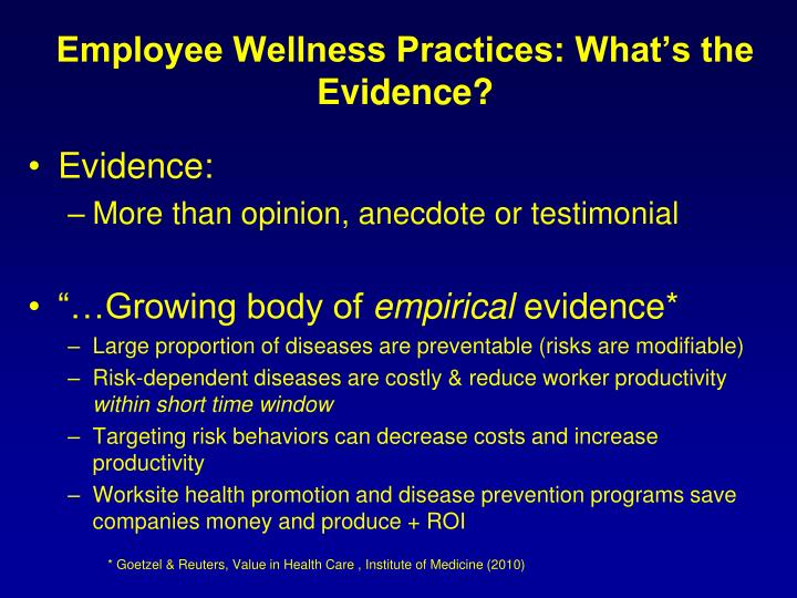 Employee Wellness Practices: What's the Evidence?