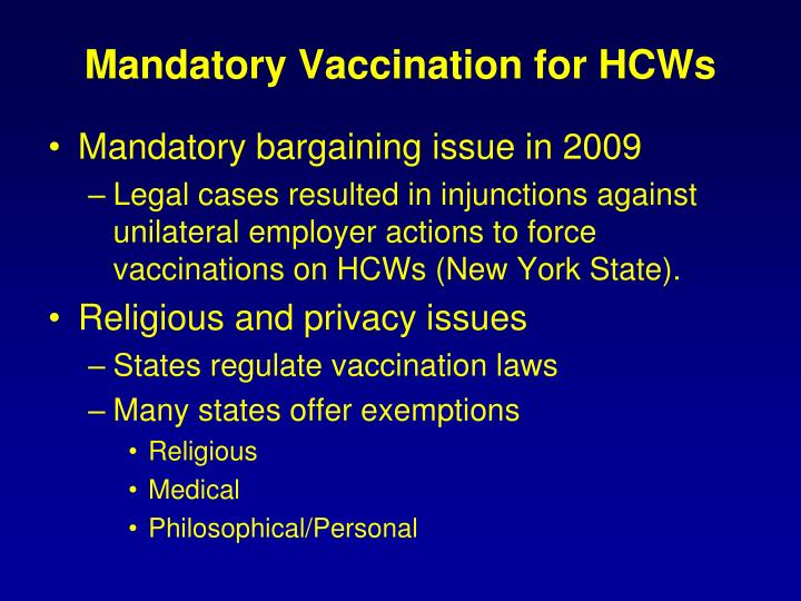 Mandatory Vaccination for HCWs