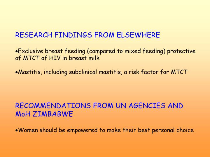 RESEARCH FINDINGS FROM ELSEWHERE