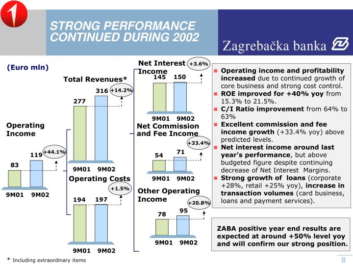 STRONG PERFORMANCE CONTINUED DURING 2002