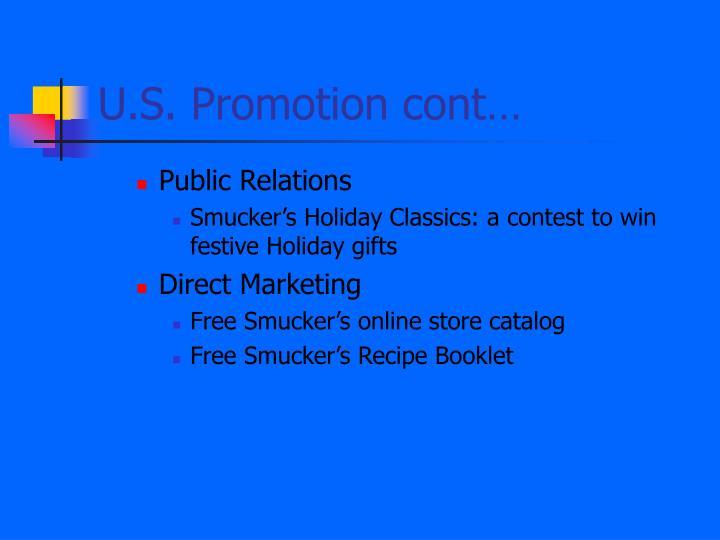 U.S. Promotion cont…
