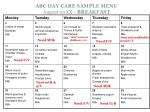 abc day care sample menu august 20xx breakfast