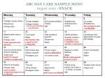abc day care sample menu august 20xx snack