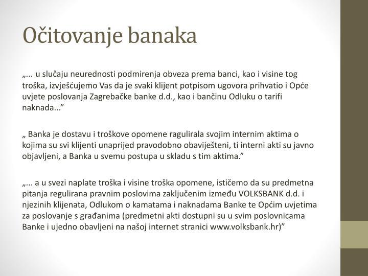 Očitovanje banaka