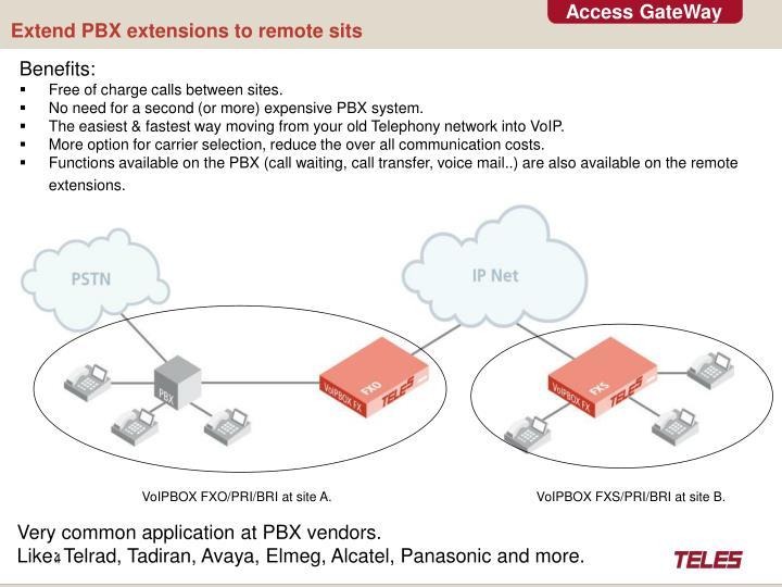 Extend PBX extensions to remote sits
