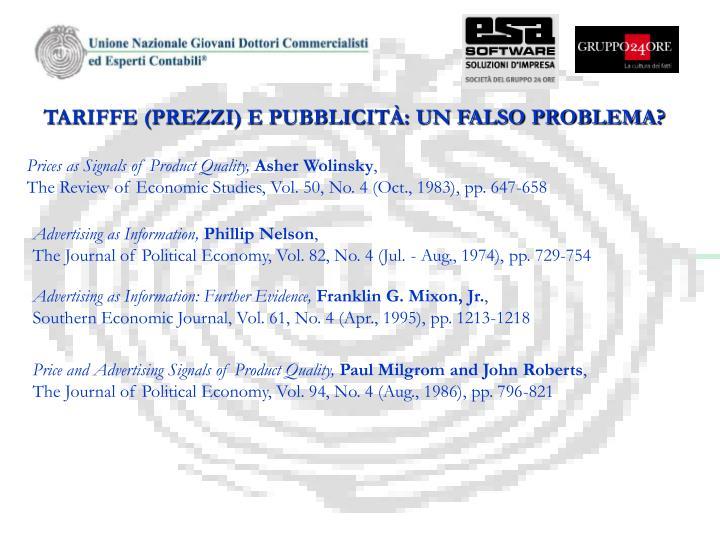 TARIFFE (PREZZI) E PUBBLICITÀ: UN FALSO PROBLEMA?