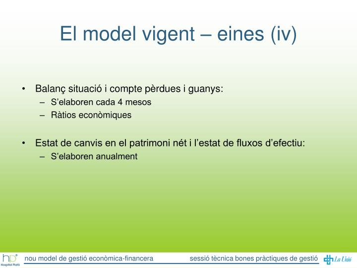El model vigent – eines (iv)