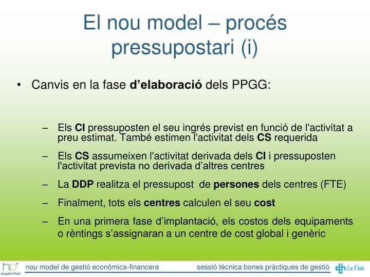 El nou model – procés pressupostari (i)