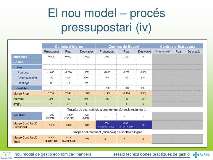 El nou model – procés pressupostari (iv)