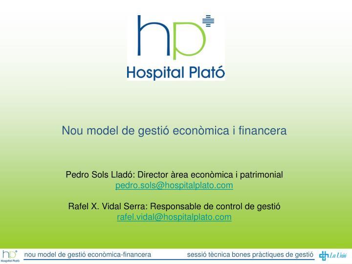Nou model de gestió econòmica i financera